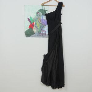 Vera Wang One Shoulder Thigh High Slit Long Formal